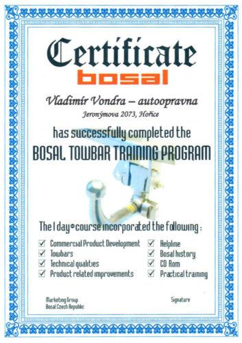 Certifikát BOSAL