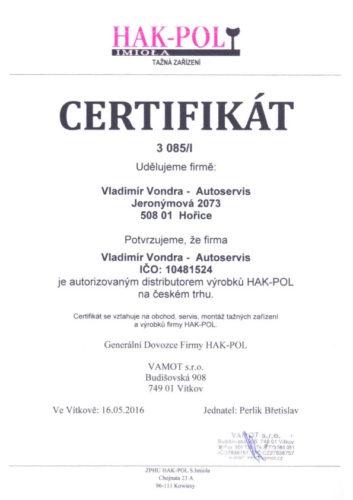 Certifikát HAK-POL